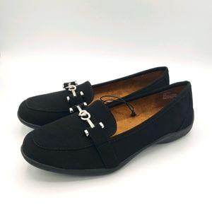 Black rivet Daniella black slip on flats shoes